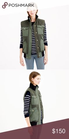 """J.Crew Spanish Moss Utility Vest """"The perfect piece for those """"do I really need a jacket today?"""" days. Designed with a slightly longer, oversize fit and finished with details inspired by standard-issue army jackets, it's the best way to layer without totally covering up."""" Perfect condition. Retail. Sold out everywhere. Cotton. Hidden zip with snap closure. Flap pockets with snap closure. Lined. Machine wash. Import. SIZE & FIT DETAILS Oversize fit. Body length: 29"""". Hits at hip. J. Crew…"""