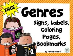 FREE set of Literary Genre signs, labels, coloring book and bookmarks for the classroom or school library.Label shelves or book baskets with cute Melonheadz illustrations in two sizes.  Set up a center activity with all the same pictures to color and put together in booklet form.12 different bookmarks each with a genre list for students to keep for reference.Thank you for your visit to my store.