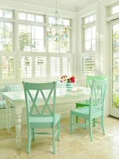 mint chairs white windows