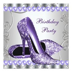 Glitter Pearls Purple High Heels Shoes Birthday Personalized Invites