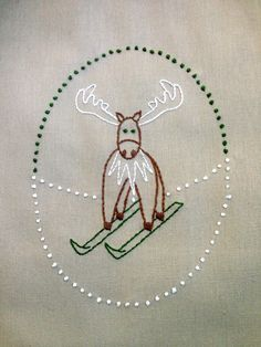 winter moose hand embroidery pattern by hooptdo on Etsy