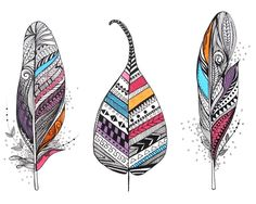 Aztec Leaf and Feathers Art Print - I feel like these would make amazing tattoos!