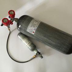 Heißer verkauf 6.8l kohlefaser gasflasche 4500psi 300bar hp pcp tank mit rot sicherheitsventil
