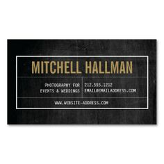 Vintage Nameplate on Scratched Black Wood Customizable Business Card Template