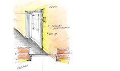 Design of a LED lighting around a door. Designed bij Hed