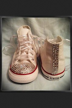White high top bling chuck Taylor converse. $67.00, via Etsy.