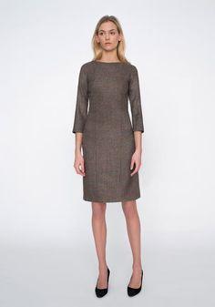 Ascot Dress in Light Brown Check