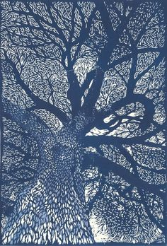 """Jardin des Plantes, Paris"" linocut by Evelyne Bouchard This is a ""how to do a lino print"" site! Illustration Art, Illustrations, Wow Art, Art Graphique, Gustav Klimt, Tree Art, Printmaking, Art Photography, Photos"