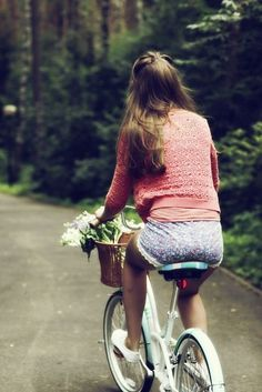 #bicycle #shorts #pin_up #flowers #girls #forest