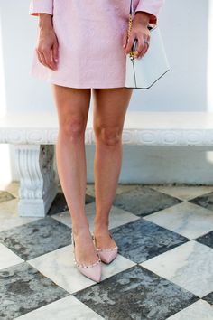 Pink on pink wearing a Chicwish dress and Valentino flat in Charleston. I'm sharing the best ballet flats at every price point on the blog!