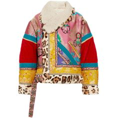 Etro Oversized patchwork jacquard, velvet, shearling and calf hair... ($6,745) ❤ liked on Polyvore featuring outerwear, jackets, leopard jacket, leopard print jacket, patchwork jacket, boho jacket and multi-color leather jackets