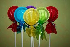 lollipops made from foam plates and colored cellophane