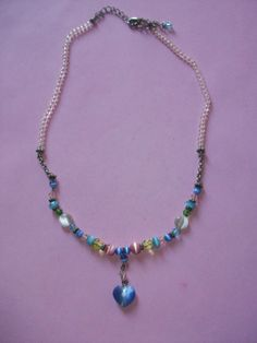 Multi Color Bead Heart Necklace by MICSJWL on Etsy, $5.00