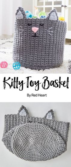 Kitty Toy Basket free knit pattern in Super Saver Chunky yarn. Keep your kitty's playthings organized in this charming basket. We've designed it with a double strand of yarn for sturdiness. The face is embroidered with appliques for the ears and nose.
