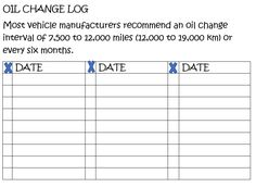 Bullet Journal Oil Change Log Oil Change Journal Chart