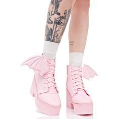 Change the bat wing to angel wings Pastel Goth Fashion, Kawaii Fashion, Cute Fashion, Fashion Shoes, Pastel Punk, Dream Shoes, Crazy Shoes, Me Too Shoes, Kawaii Shoes