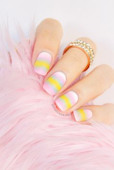 It must be the influence of Easter. Suddenly instead of the usual bright colours I had a compulsion to try pastel nails. The result was these ombre nails. How To Do Nails, Fun Nails, Pretty Nails, Nice Nails, Easter Nail Designs, Matte Nail Art, Pastel Candy, Easter Nails, Nails Inc