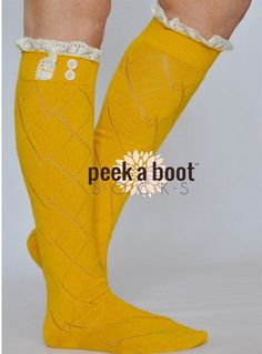 Peek A Boot Mustard Lace Boot Socks – Texas Two Boutique
