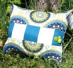 Suzani and Bold Stripe Indoor/Outdoor Pillow by BeautifullyaNew, $30.00