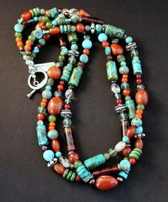 Mixed Gemstone Necklace with Art Glass and Sterling Silver