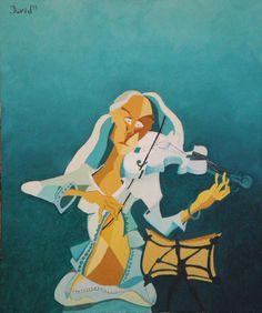 Violinista.  Óleo sobre lienzo