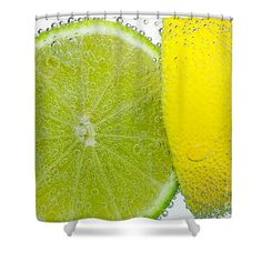 Effervescent Lime and Lemon by Kaye Menner Shower Curtain by Kaye Menner