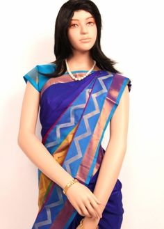 Ink Blue Colored Upper Body with Multicolored Stylish Wave Designed Lower Body Half and Half Uppada Pure Silk Saree. http://www.shreedevitextile.com/women/sarees/silk-saree/shree-devi/ink-blue-colored-original-uppada-pure-silk-saree