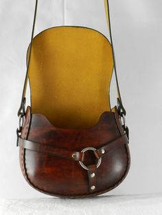 Handmade Latigo Leather Shoulder Bag  Hand-dyed and