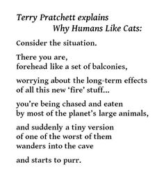 Why Humans Like Cats - Terry Pratchett explains If you haven't read Terry Pratchett yet you are missing a wonderful chance to look at the world from the back of a giant turtle Cat Quotes, Book Quotes, Terry Pratchett Discworld, Guide To The Galaxy, Make Me Happy, Book Lovers, Wise Words, Just In Case, Decir No