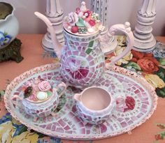 Cottage Chic Pink Mosaic Tea Set | Flickr - Photo Sharing!
