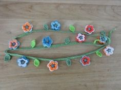 home made flower for decorating wedding, crocheted garland