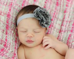 baby headband grey silver satin flower by strawberryANDlemons, $7.50