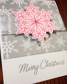 "Handmade Stampin Up Christmas cards- ""Pink and Silver Snowflakes"" 8-pack"
