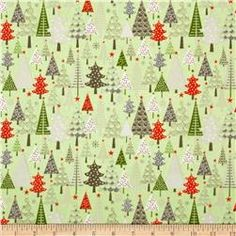 Riley Blake A Merry Little Flannel Merry Trees Green
