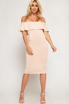 Sara Off Shoulder Crepe Frill Bodycon Dress-85793-20