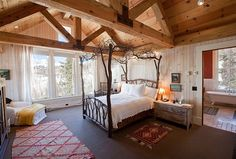 This tree branch canopy bed brings the outdoors in! #bedroom #design