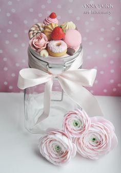полимерная глина, сладости, вкусная баночка,polymer clay, sweet