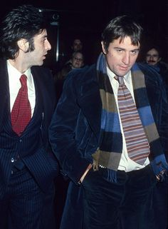Al Pacino & Robert De Niro (1977) Two of my faves. oh my god they look like frat boys