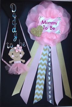 Mommy To Be ribbon and Daddy To Be tie pin perfect for co-ed baby shower