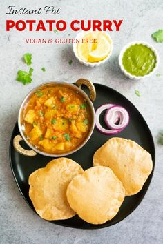Pot Potato Curry in Tomato Gravy Recipe (Aloo Rasedar) Easy and comforting Vegan Potato Curry in Tomato Gravy made in the Instant Pot. This North Indian Potato Curry is popularly known as Aloo Rasedar Indian Potato Curry, Vegan Potato Curry, Vegetarian Curry, Vegan Curry, Indian Curry, Veg Recipes, Curry Recipes, Indian Food Recipes, Vegetarian Recipes