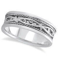 Allurez Mens Irish Handmade Celtic Wedding Ring 14k White Gold 7mm by Allurez