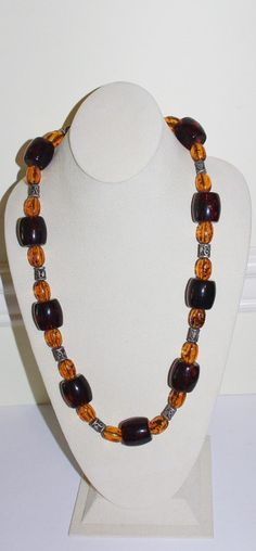 Vintage Beaded Necklace Light and Dark Amber by SCLadyDiJewelry