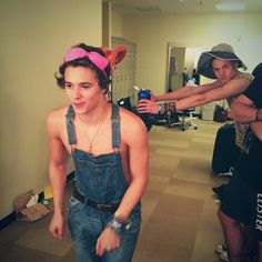 They lost a bet with the crew but little did anyone realize just how hot the boys look in overalls Bradley Will Simpson, Brad Simpson, Cute Gay Stories, Meet The Vamps, Bradley The Vamps, My Little Baby, 1d And 5sos, Attractive People, To My Future Husband