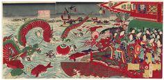 Cooling off at Ryogoku, 1878 by Chikanobu (1838 - 1912)