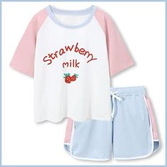 Strawberry Milk Pajamas ●Size: M Length length L Length length ●Material:Cotton ●Process time: business days●Shipping time: business days to United States, weeks to Harajuku Fashion, Kawaii Fashion, Cute Fashion, Gothic Fashion, Cute Pajamas, Pajamas Women, Japanese Outfits, Korean Outfits, Cute Lazy Outfits