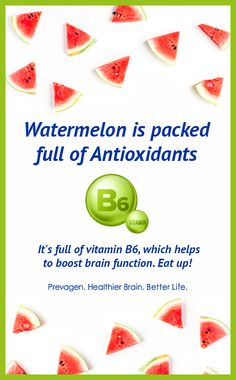 Watermelon is packed full of antioxidants. It's full of vitamin which helps to boost brain function. Eat up! Healthy Brain, Brain Food, Brain Health, Memory Problems, Balanced Diet, Better Life, Watermelon, Vitamins, Yummy Food