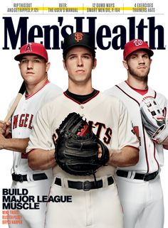 Trio of young stars land on cover of Men's Health magazine Alternate cover for the Men's Health Magazine's April Issue. Cover features Mike Trout, BUSTER POSEY and Bryce Harper. The issue will hit newsstands on March Bryce Harper, Baseball Boys, Angels Baseball, Baseball Players, Giants Players, Baseball Park, Men's Health Magazine, Mike Trout, Magazine Deals