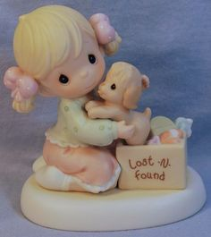PRECIOUS MOMENTS CAN'T REPLACE A GOOD FRIENDSHIP GIRL w/PUPPY LOST & FOUND  - MIB