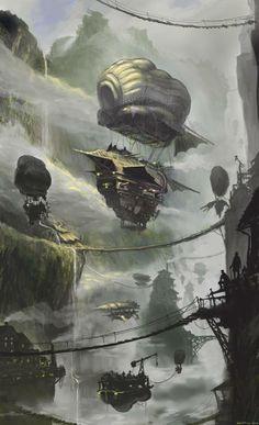 Steampunk Tendencies   Filip Dulek #Illustration #Fantasy #Steampunk #Airship