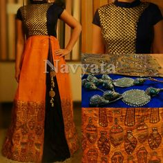 Silk floor length outfit with handwork. For further details contact us on + 919892398900, + 919930413660